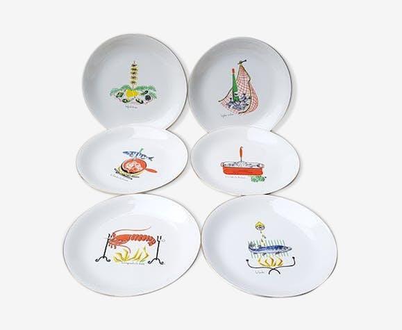 6 assiettes plates mer et rivière des années 60