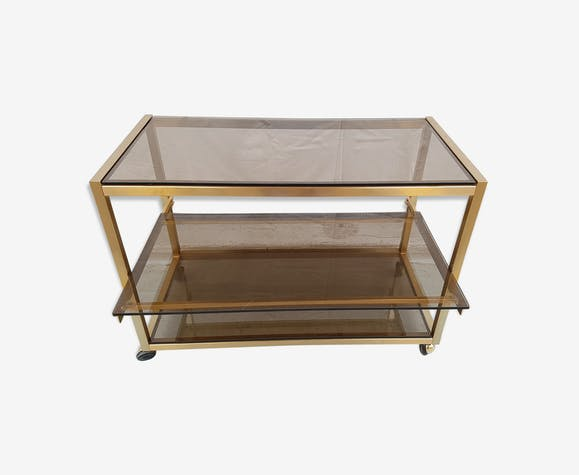 la moitié cce7d 1f59f Table basse Design Desserte roulante Métal doré - métal ...