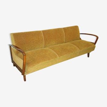 Canapé lit daybed scandinave années 50/60 couleur or