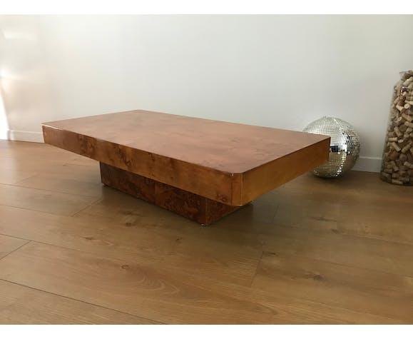Table basse vintage en loupe d'orme