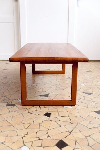 Minimalist solid teak coffee table