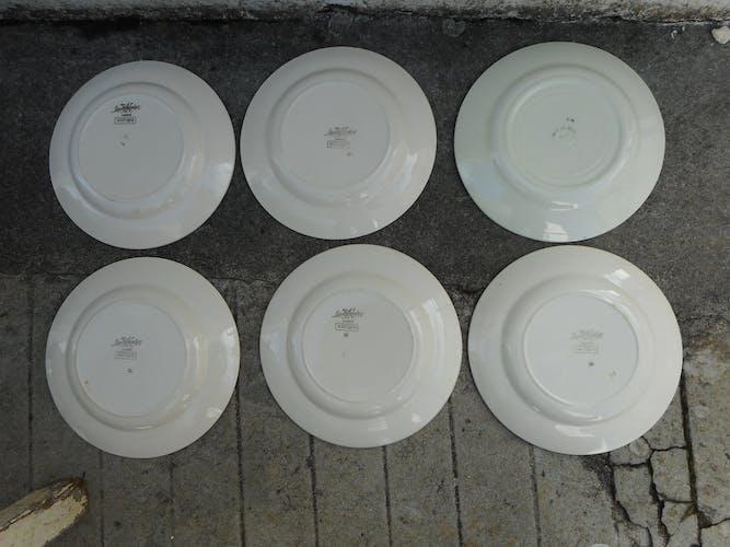 Lot de 6 assiettes plates en faïence de Sarreguemines