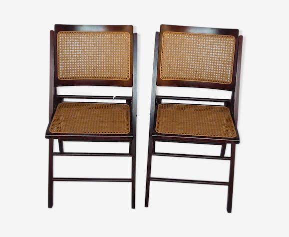 Duo De Chaises Vintage Cannées Pliantes BoismatériauMarron 1TuFc3lKJ