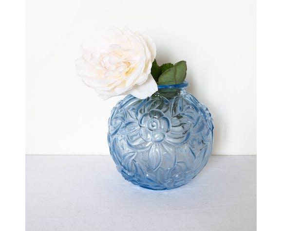 Vase boule en verre opaque bleu art déco