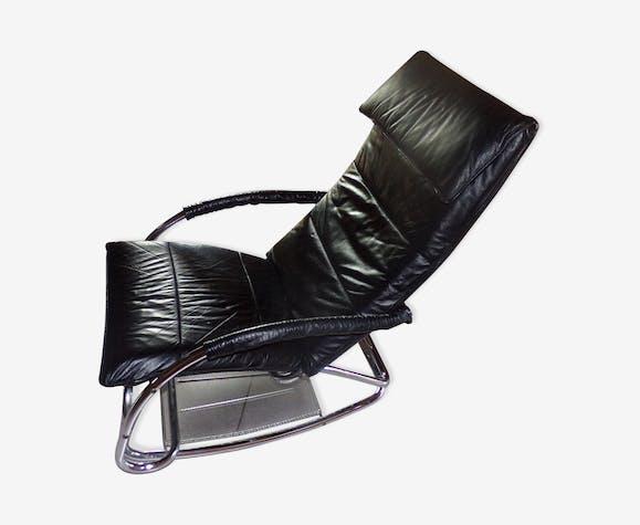 Rocking Chair Noir Chaise Longue Vintage Vxxb8cbd Skaï vOm80nywN