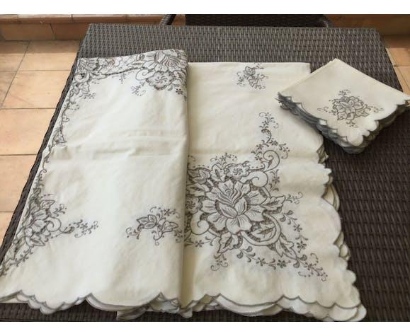 Nappe rectangulaire ancienne  avec 12 serviettes assorties