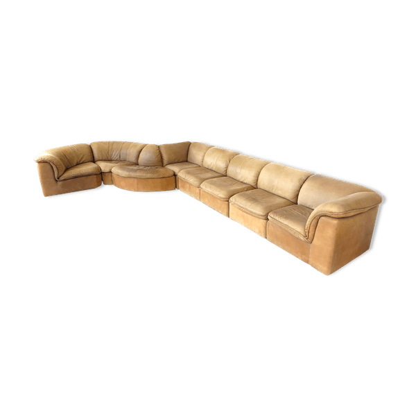Modular Sofa From Laauser Made Of Nubuck Leather Leather Brown Good Condition Vintage Vx5irf1