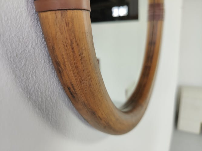 Miroir rond vintage rotin