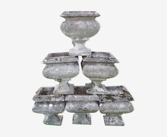 6 jardinières en pierre reconstituée