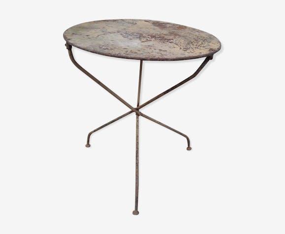 Table Tripode Pliable Gueridon De Jardin Metal Multicolour