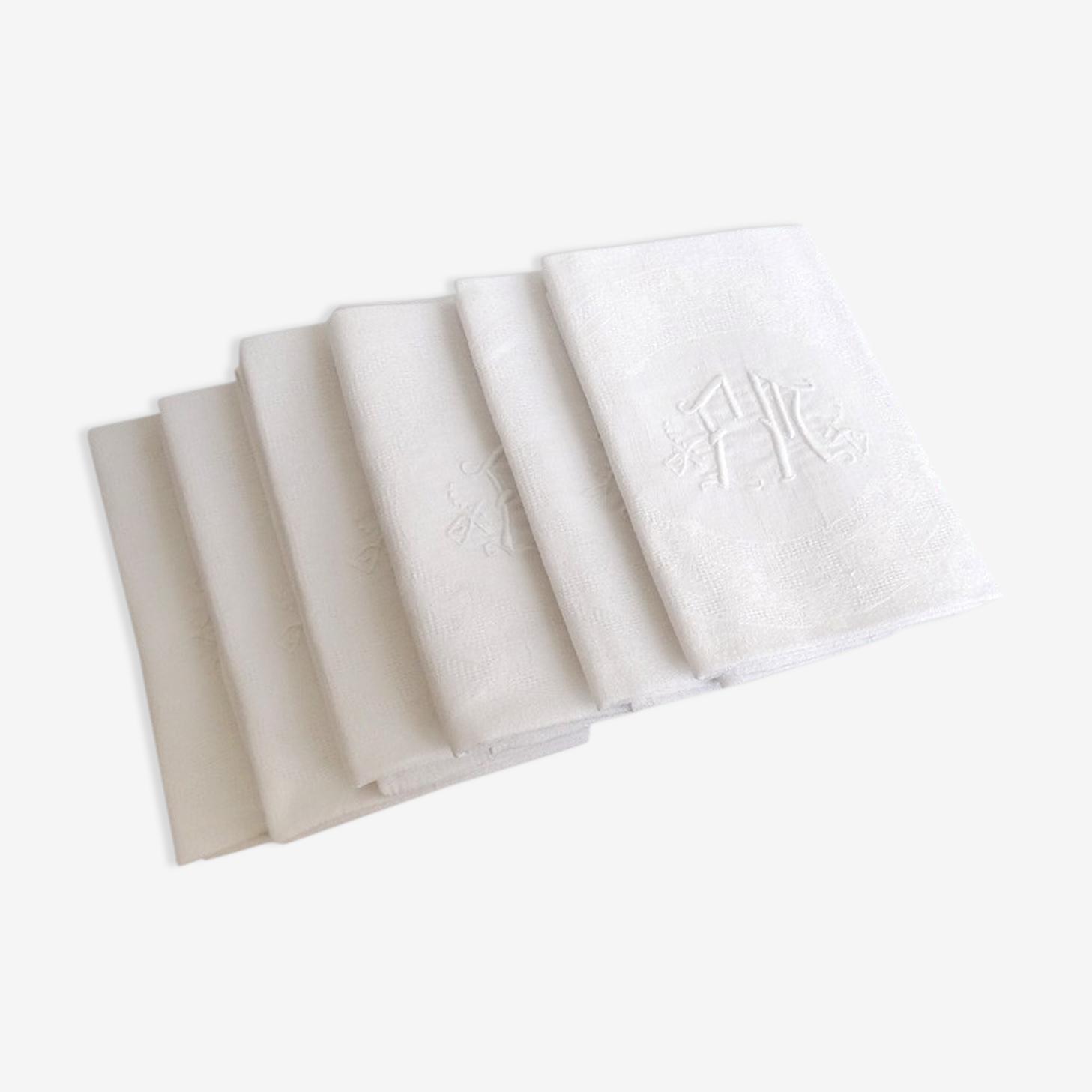 6 serviettes damassées monogramme fm