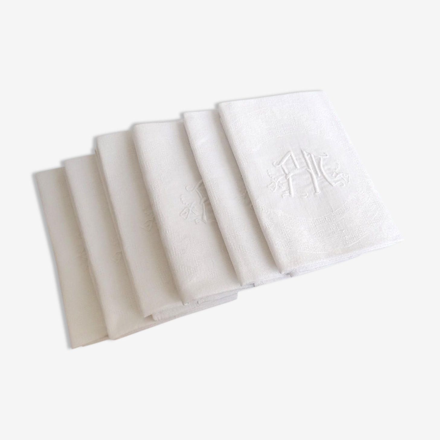 6 towels damask monogram fm