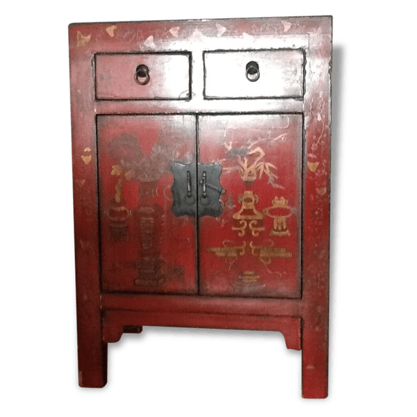 petit meuble chinois laque rouge bois mat riau rouge. Black Bedroom Furniture Sets. Home Design Ideas