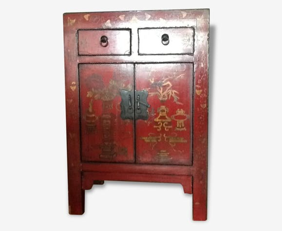 petit meuble chinois laque rouge bois mat riau rouge thnique 49595. Black Bedroom Furniture Sets. Home Design Ideas