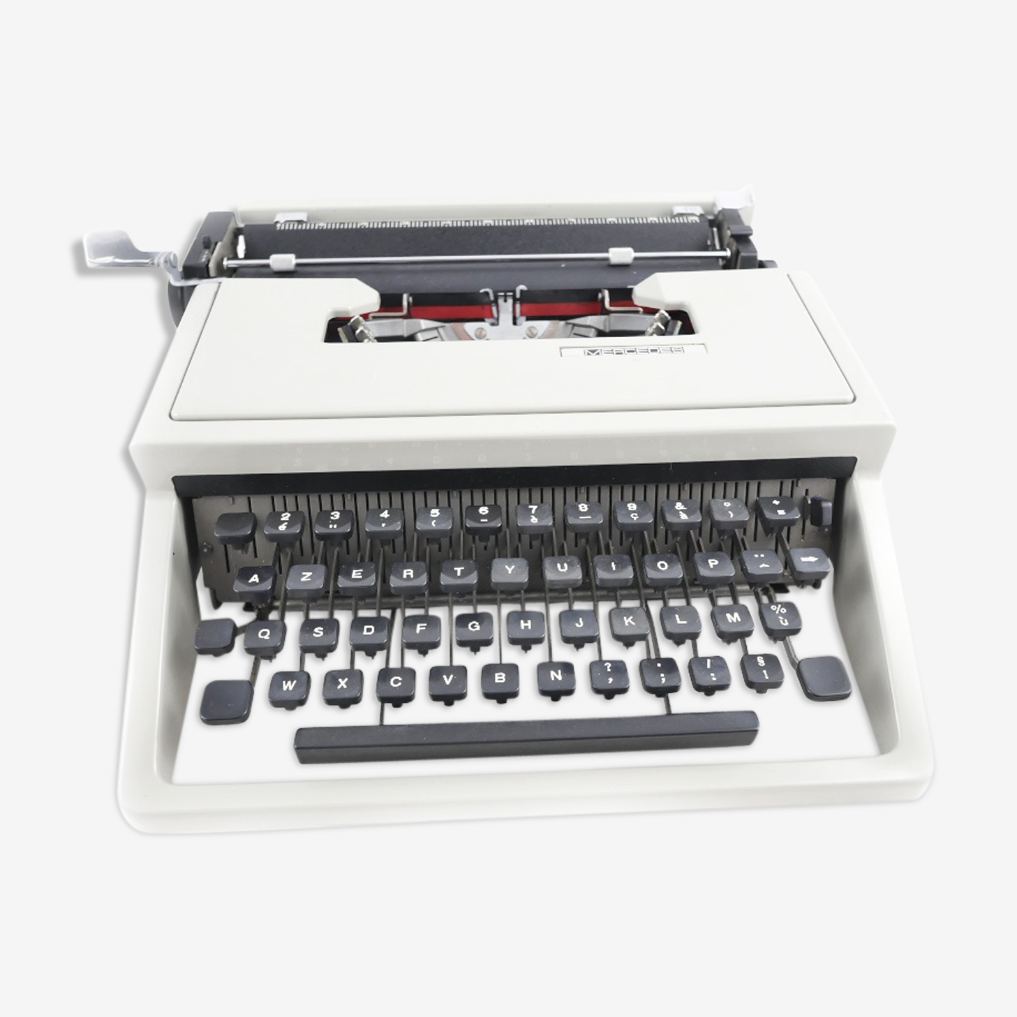 Mercedes typewriter gray vintage revised with new Ribbon