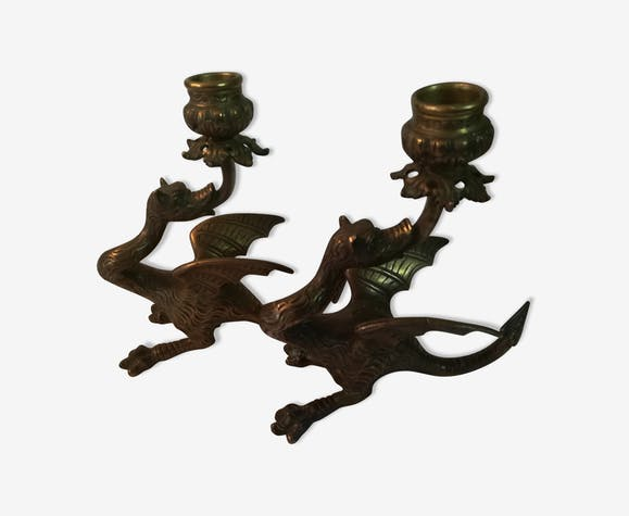 Pair of candlestick Dragon style Regency solid bronze