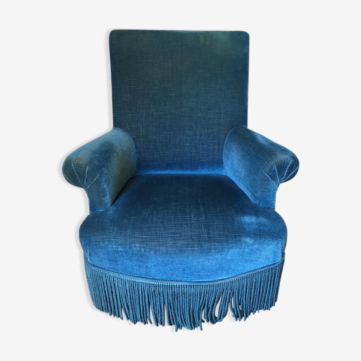 Fauteuil crapaud bleu canard
