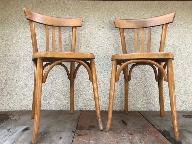 Paire de chaises anciennes bistrot bois années 70 vintage