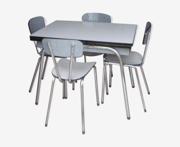 Table de cuisine en formica avec 4 chaises formica - Table de cuisine pliante avec chaises integrees ...