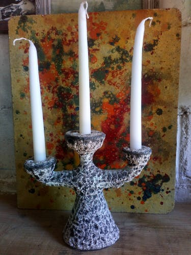 Bougeoir en céramique écume lave à trois branches