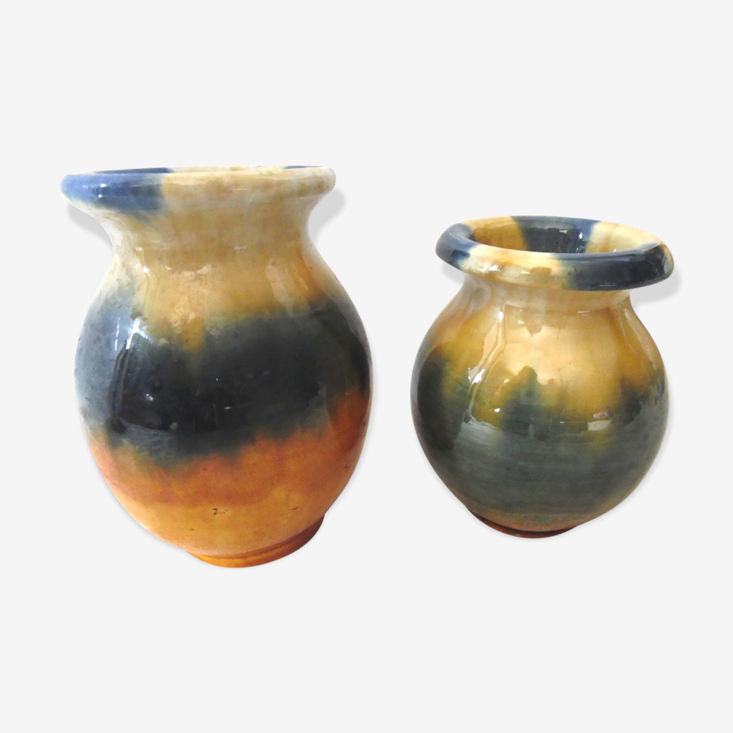 Two vases in ceramic of vallauris
