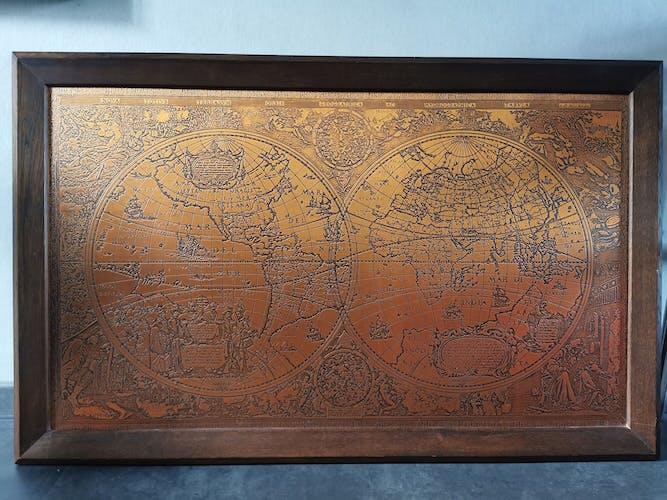 Vintage copper world map according to Hendrick HONDIUS