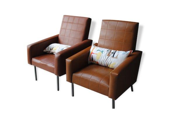 Paire de fauteuils simili cuir ann es 70 vintage ska - Fauteuil de table simili cuir ...
