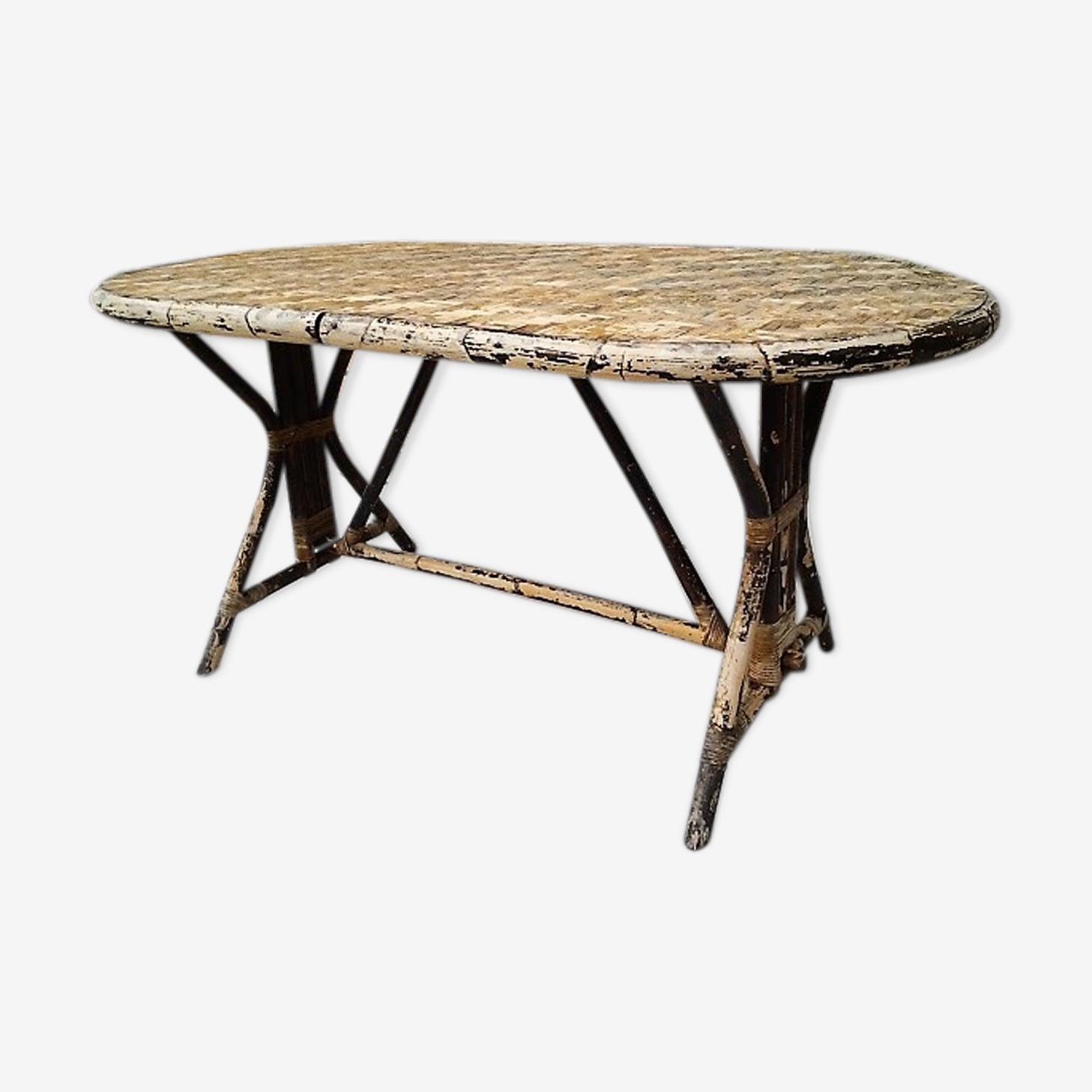 Table en rotin vintage des années 50