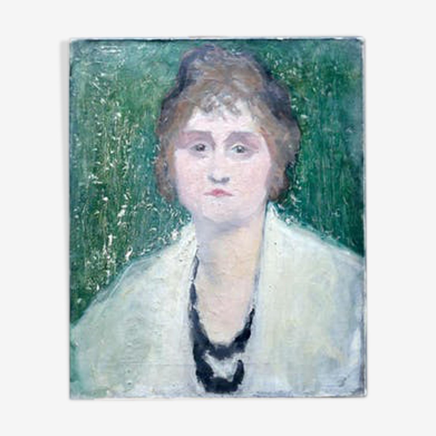 Tableau portrait femme au fond vert huile sur toile signé G.Grenthe