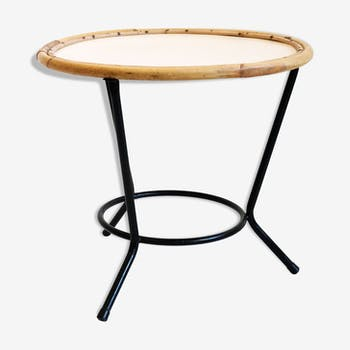 Metal coffee table and rattan of the years 60-70.