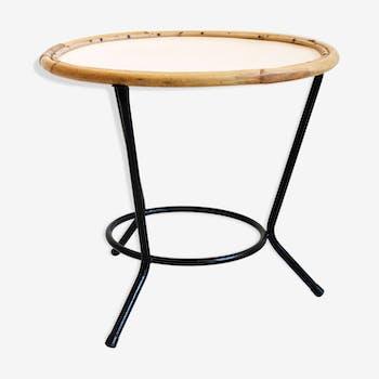 Table basse en métal et rotin des années 60-70