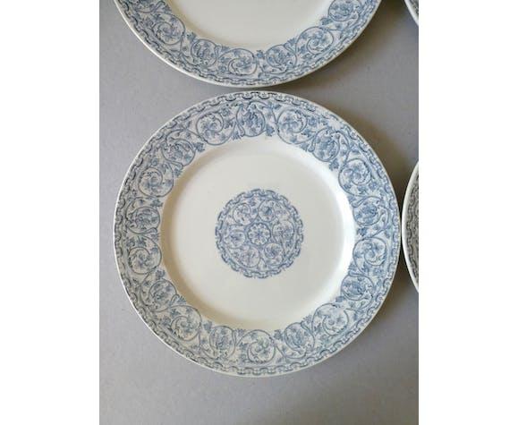 Set de 6 assiettes Creil Montereau Terre de Fer modèle Renaissance, fin XIX