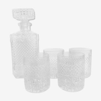 Set of 4 glasses and carafe in chiseled glass