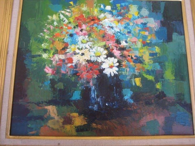 Tableau ancien, fleurs des champs