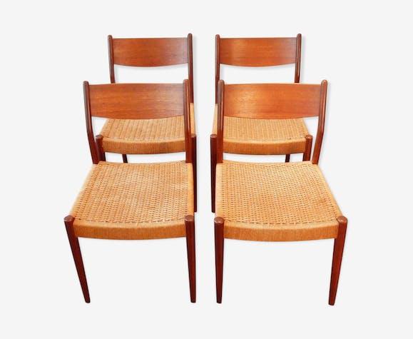 Chaises de salon vintage avec sièges en corde - bois ...