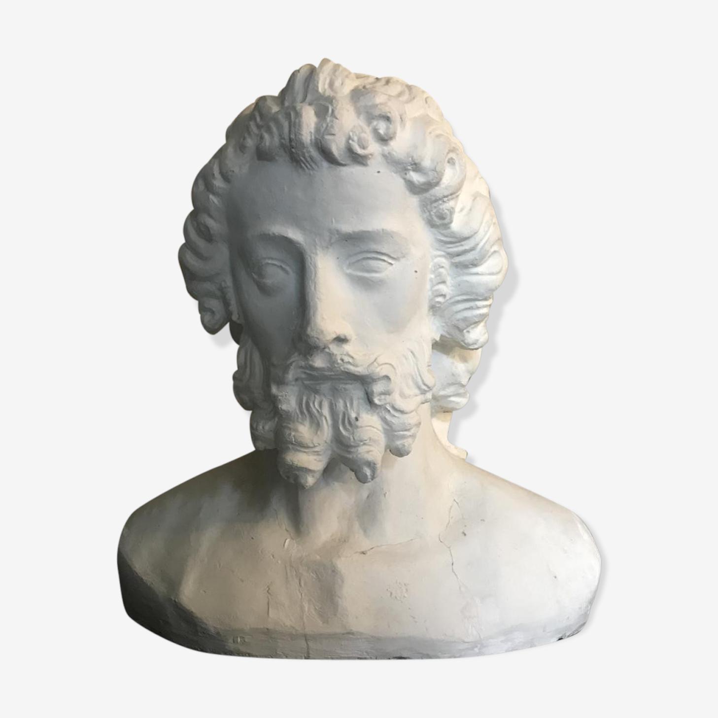Sculpture en plâtre tête de Saint