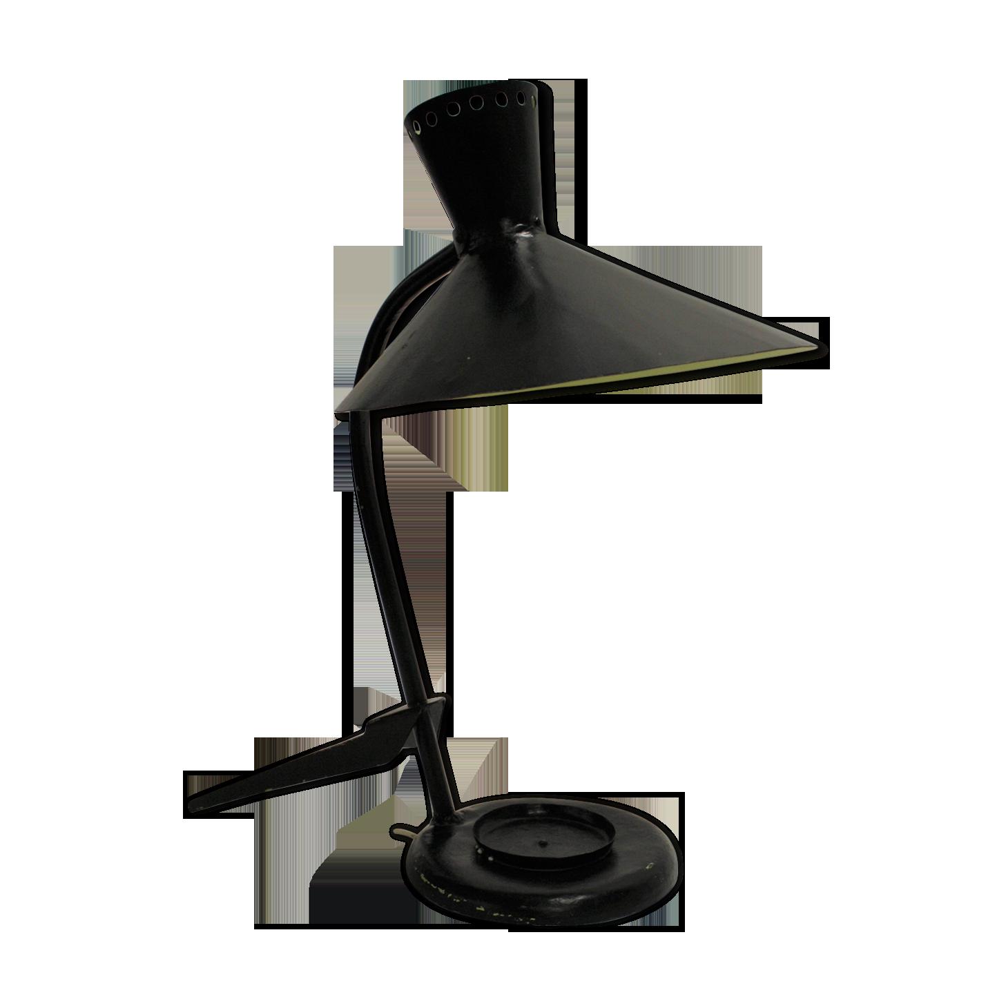Lampe de bureau française vintage années métal noir