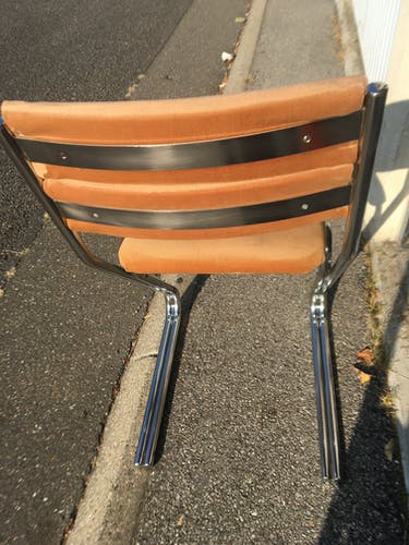 Set of 4 chrome and velvet steel chairs