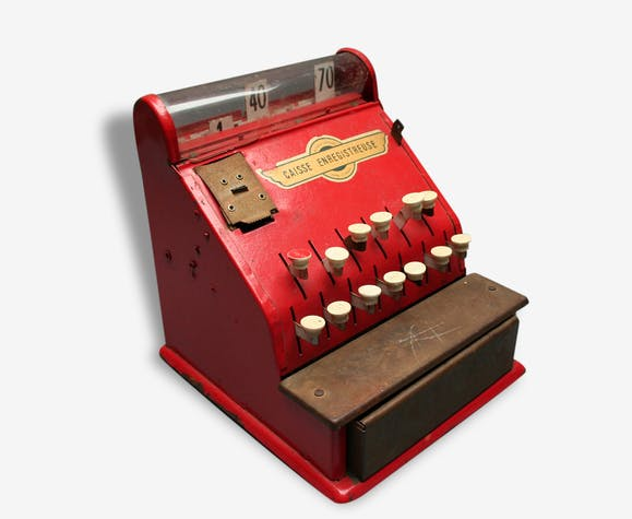 jouet caisse enregistreuse rouge en t le ann es 50 m tal rouge vintage 80372. Black Bedroom Furniture Sets. Home Design Ideas