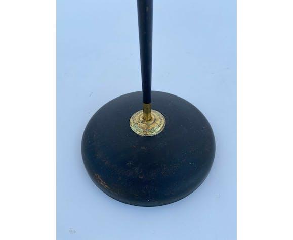 Lampadaire en métal noir et doré avec abat jour 1960