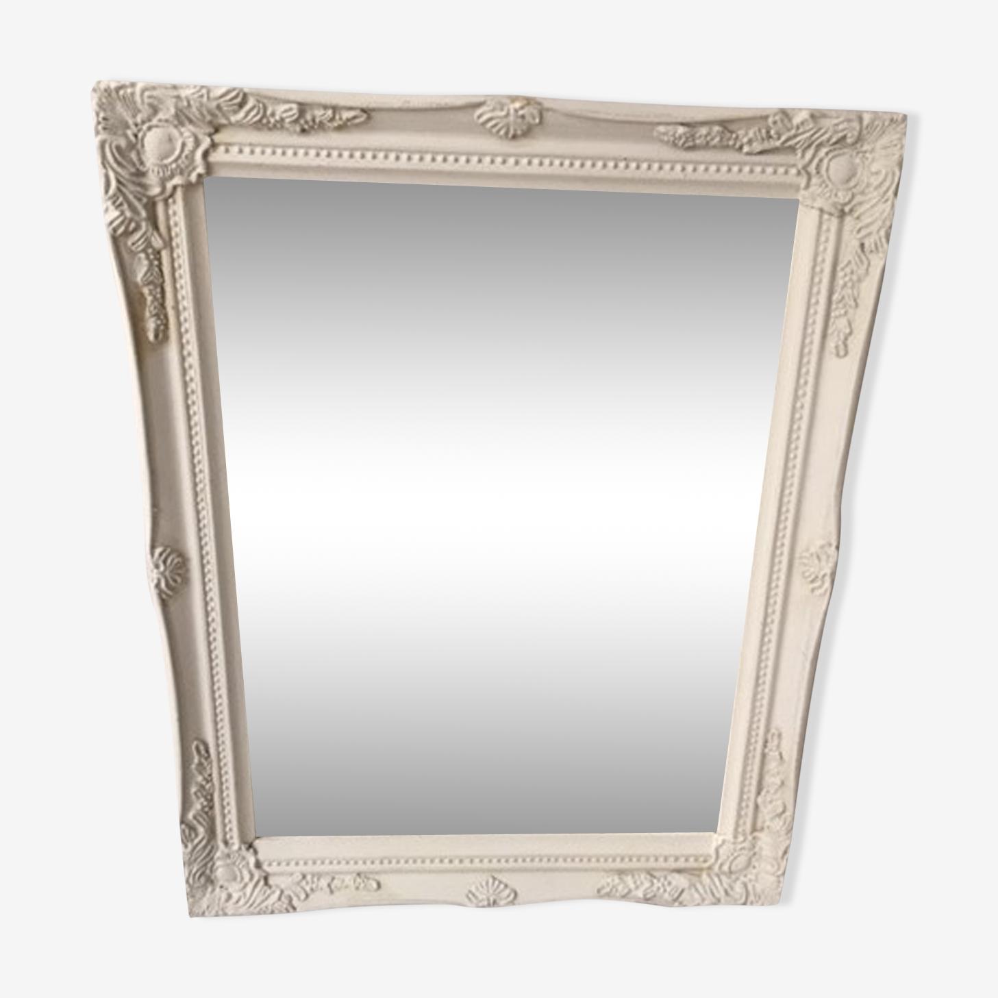 Rectangular mirror white wood 46x36cm
