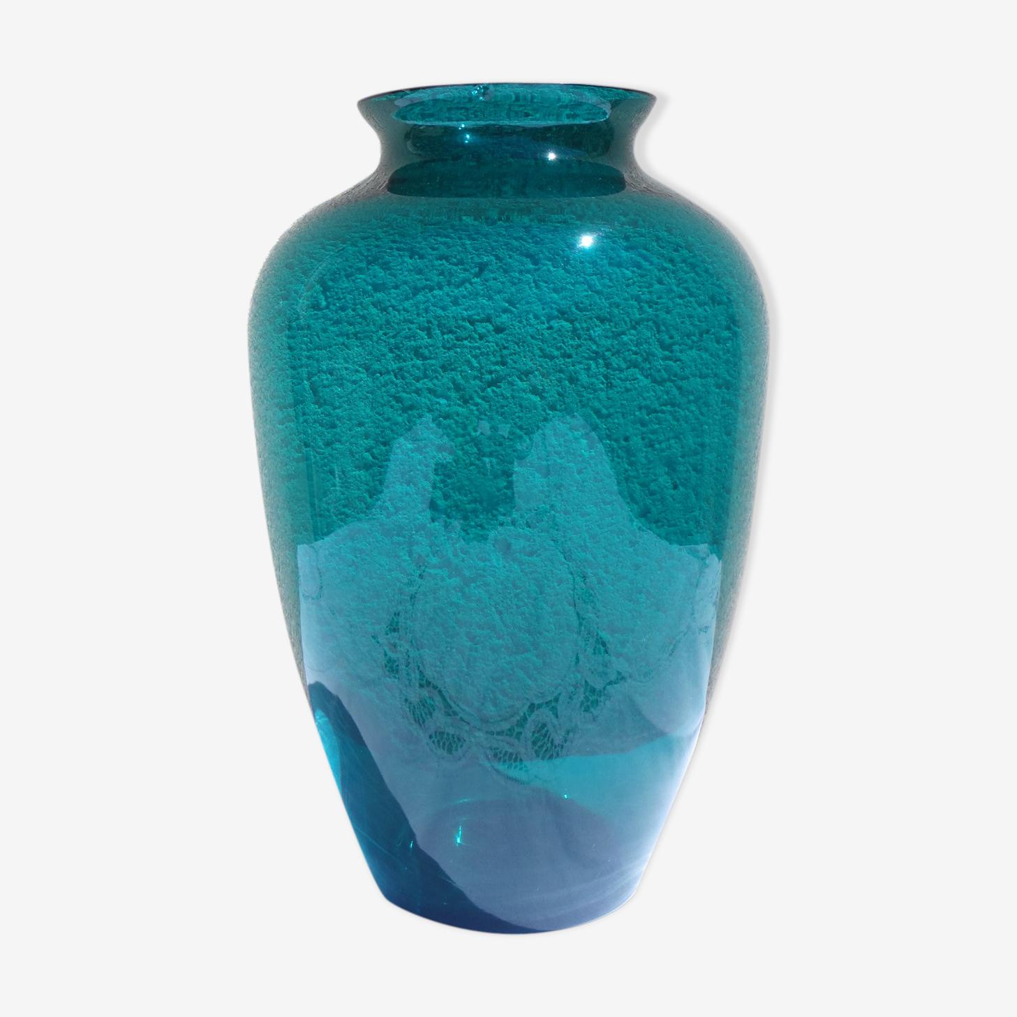 Vase en verre transparent vert emeraude