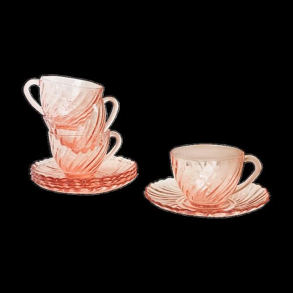 Lot de 4 tasses avec sous-tasses à petit déjeuner en verre dépression rose rosaline arcoroc luminarc