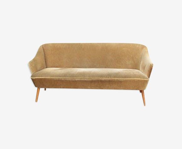 Canapé années 50/60 - tissu - beige - vintage - 160228