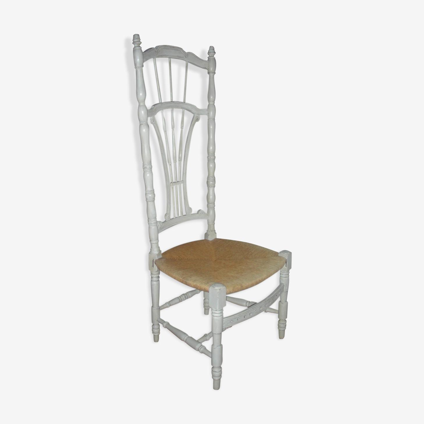 Chaise prie-dieu patinée style shabby