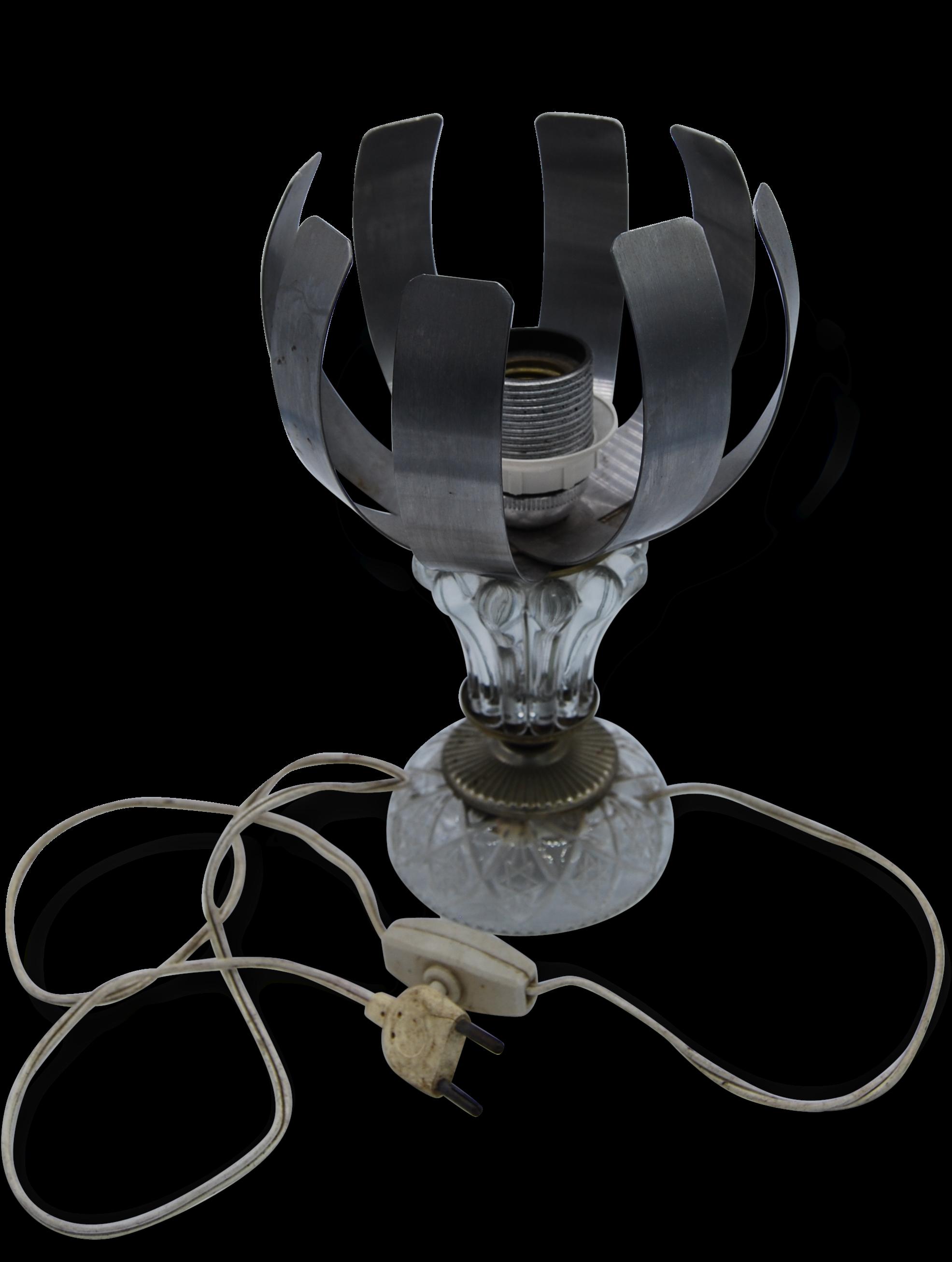 Lampe à Poser 70u0027s Vintage Fleur De Lumière Inox Pied Verre