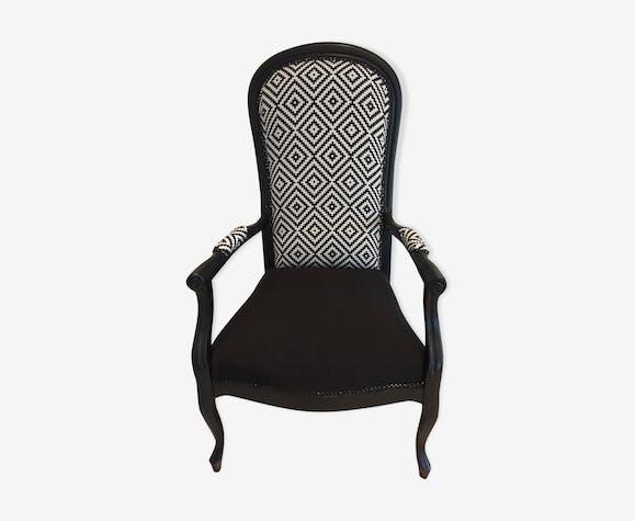 fauteuil voltaire relook bois mat riau noir classique x6jcz3s. Black Bedroom Furniture Sets. Home Design Ideas