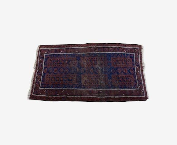 Tapis persan en laine à franges de la fin du XIXe siècle 112x202cm