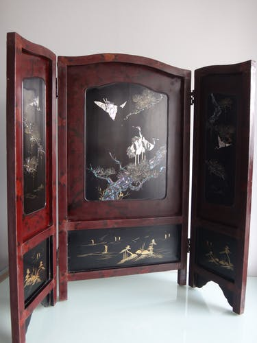 Ancien paravent Japon laque decor de grues marqueterie de nacre XIXe