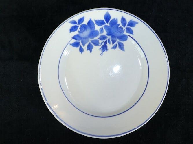 Set de 4 assiettes bleu Limoges modèle Taurion